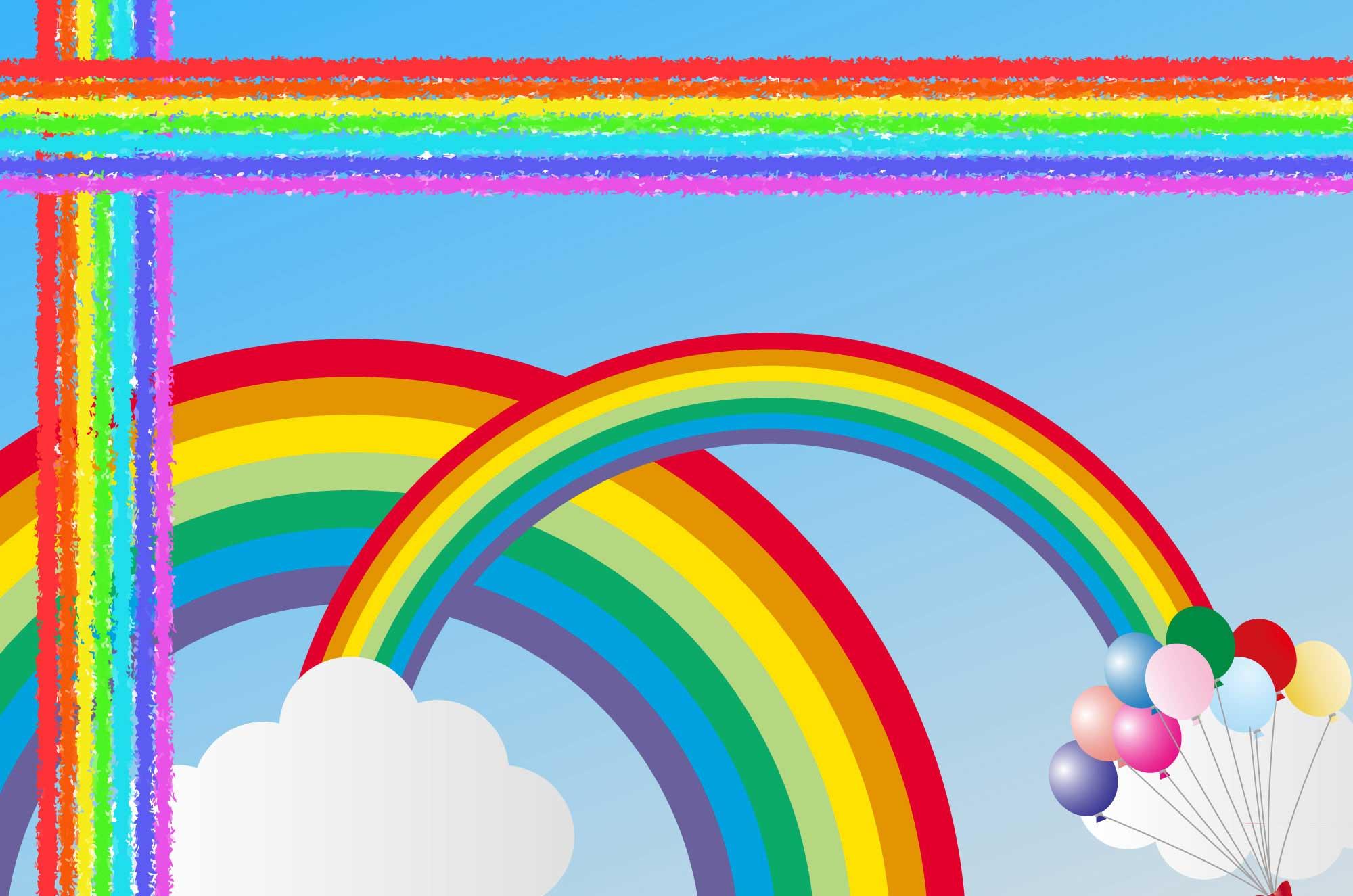 可愛い虹イラスト - 山・海にかかる七色の橋素材