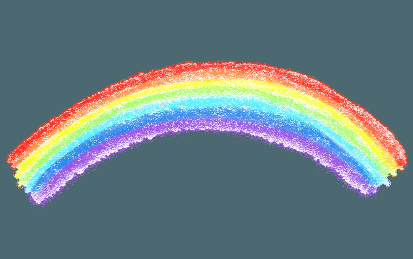 手書きのクレヨンの虹イラスト