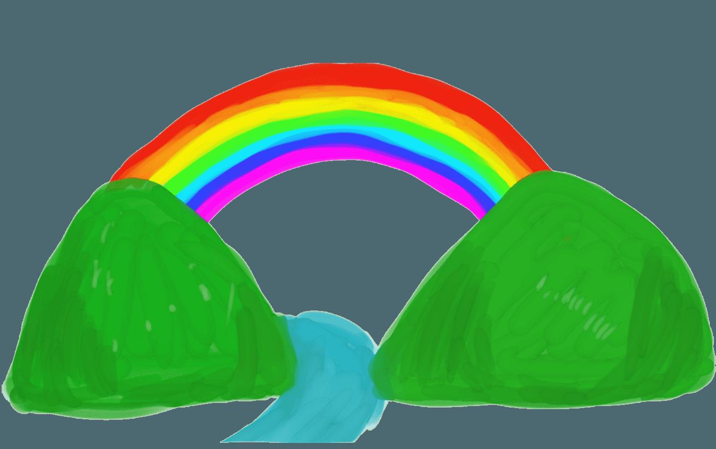 ラフな山と虹のイラスト