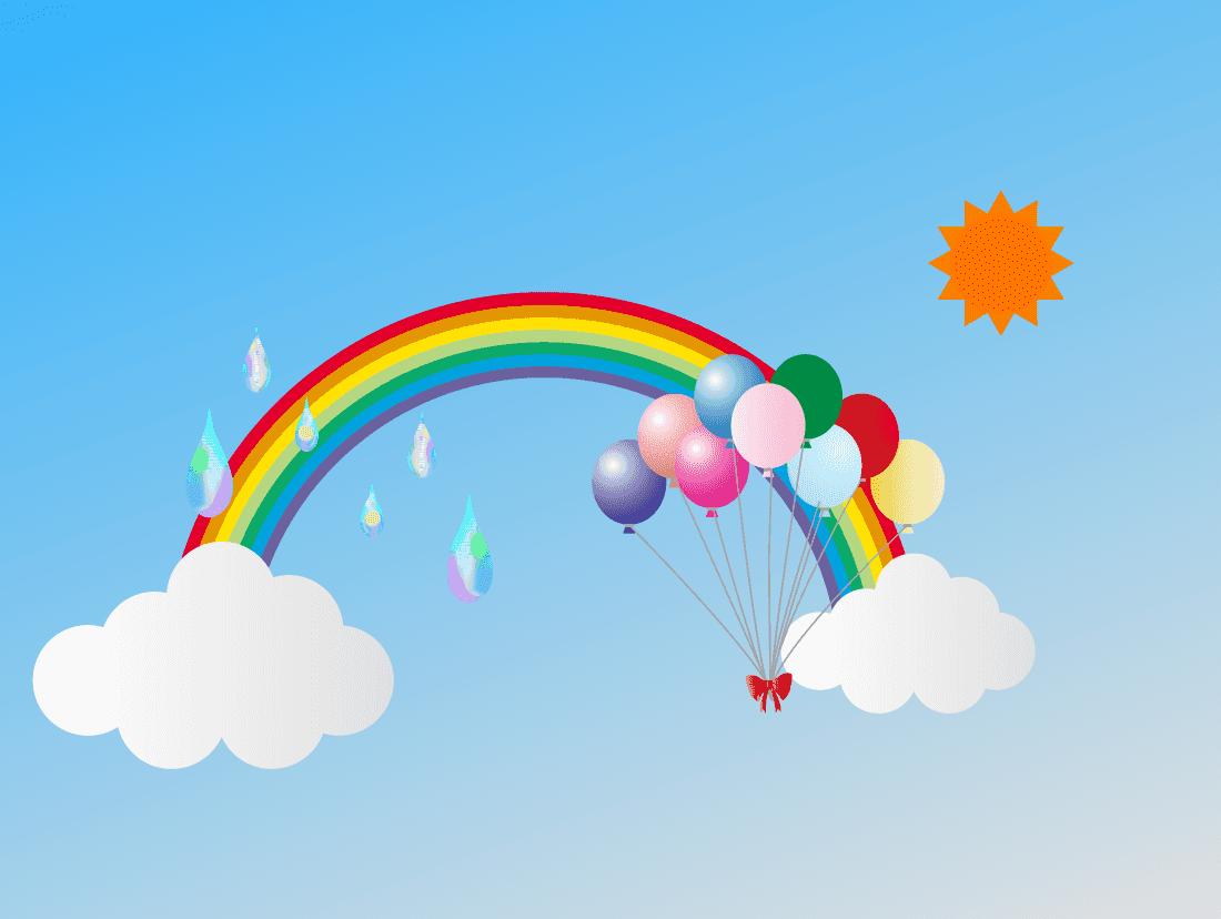 風船と虹の幻想風景イラスト