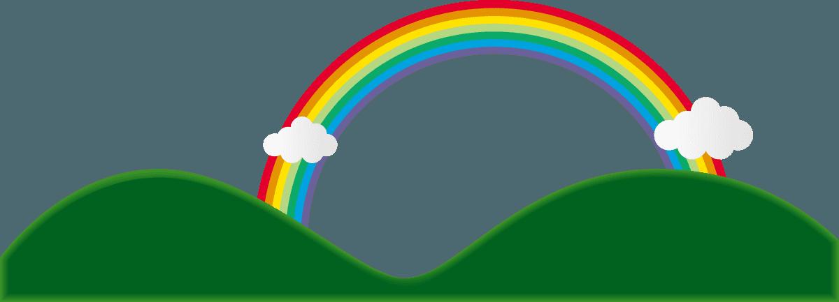 雲と山に虹の架け橋のイラスト