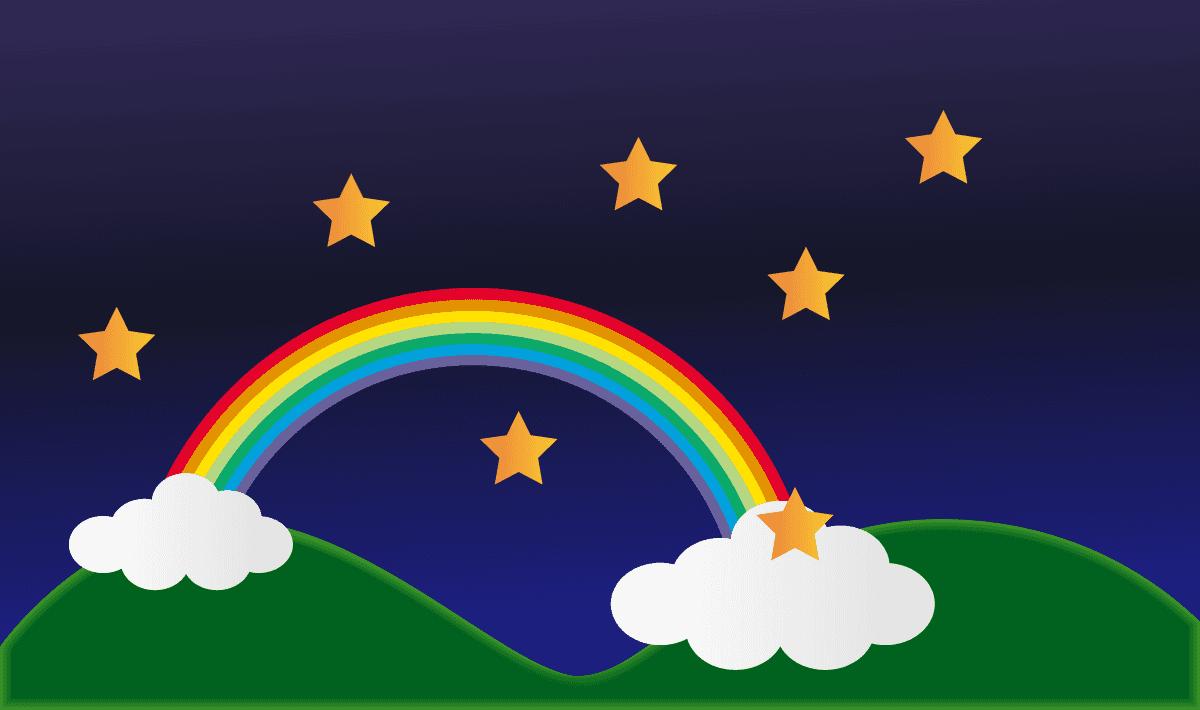 夜の空と虹と星達