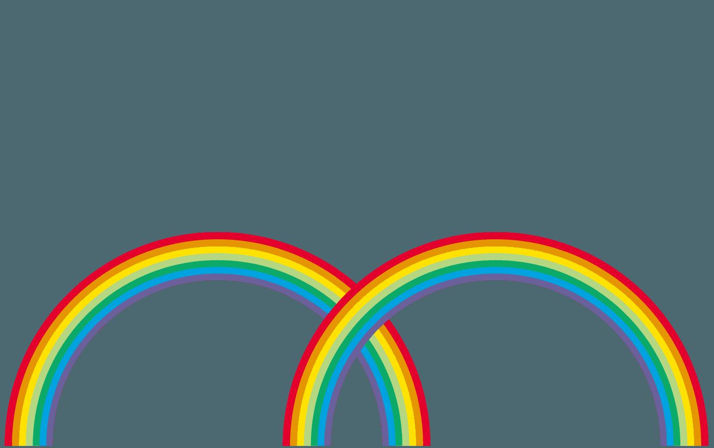 二股の虹イラスト