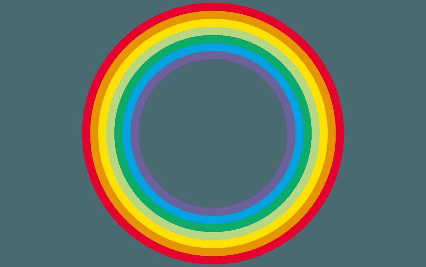 円状の虹イラスト