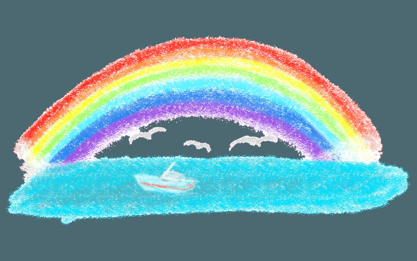 クレヨンで描いた虹イラスト虹イラスト