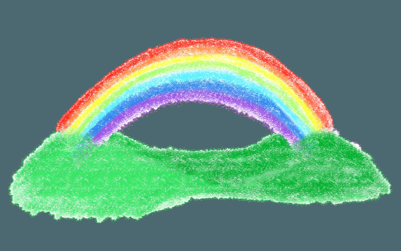 虹と山の色鉛筆画