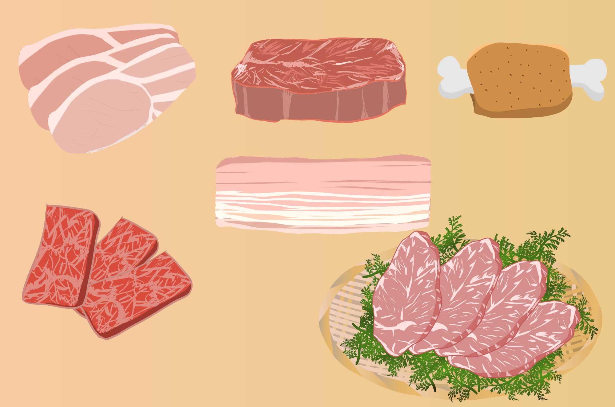 肉の無料イラスト - 牛・豚・鳥の食材フリー素材