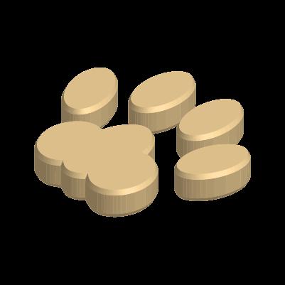 3Dの肉球のイラスト