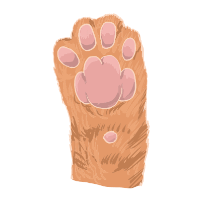 リアルな猫の肉球のイラスト