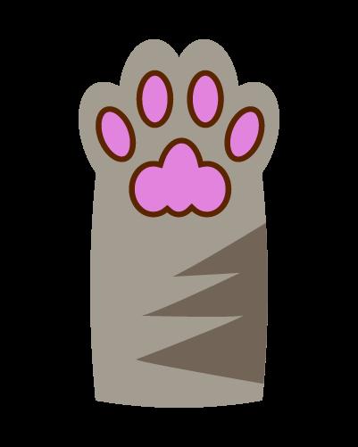 シルバーの猫の肉球のイラスト