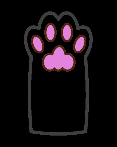 線の猫の肉球のイラスト