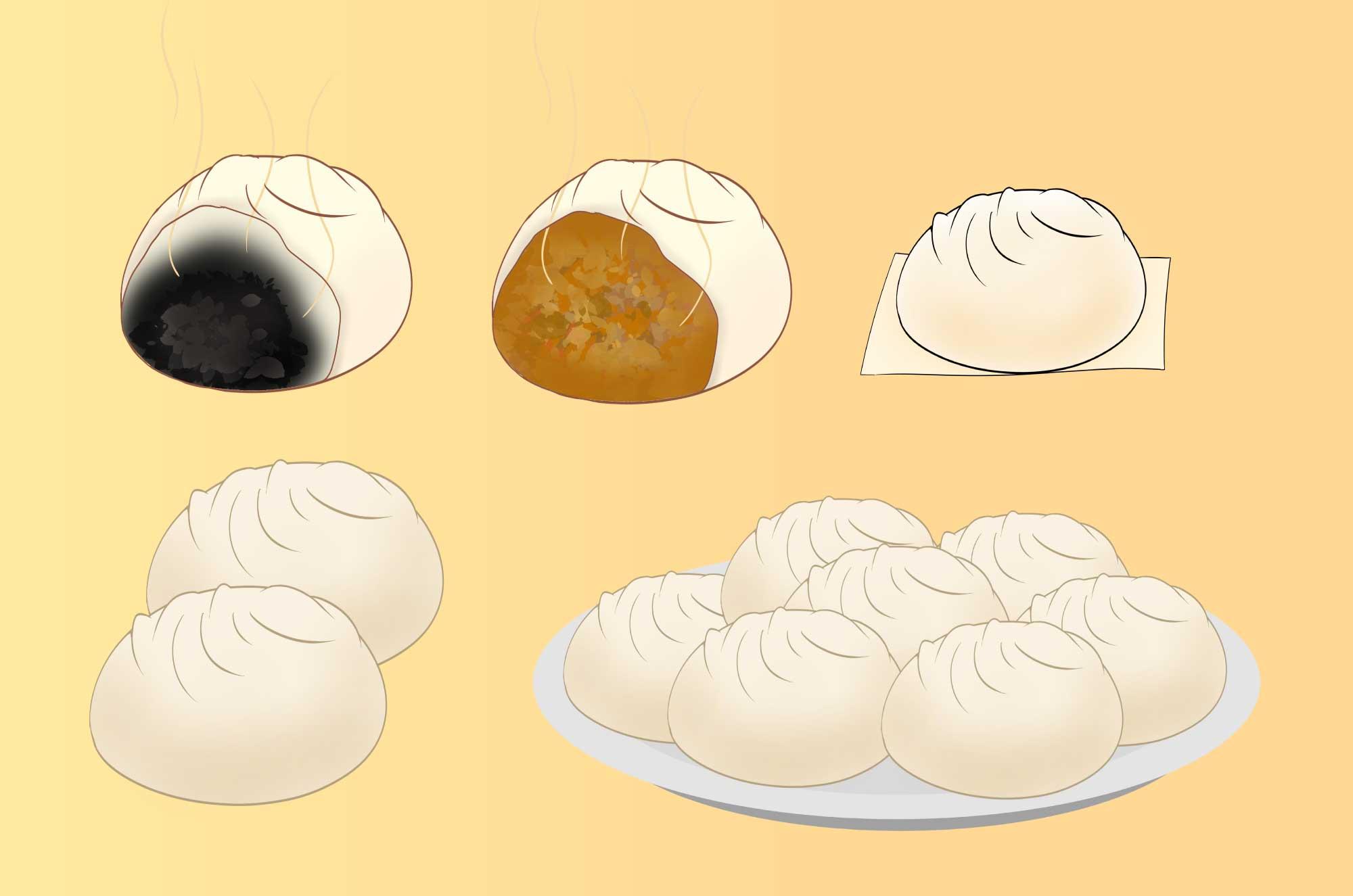 肉まんの無料イラスト - 熱々美味しそうな中華素材