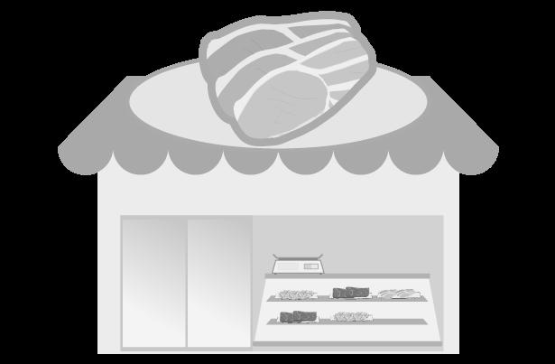 白黒の肉屋のイラスト