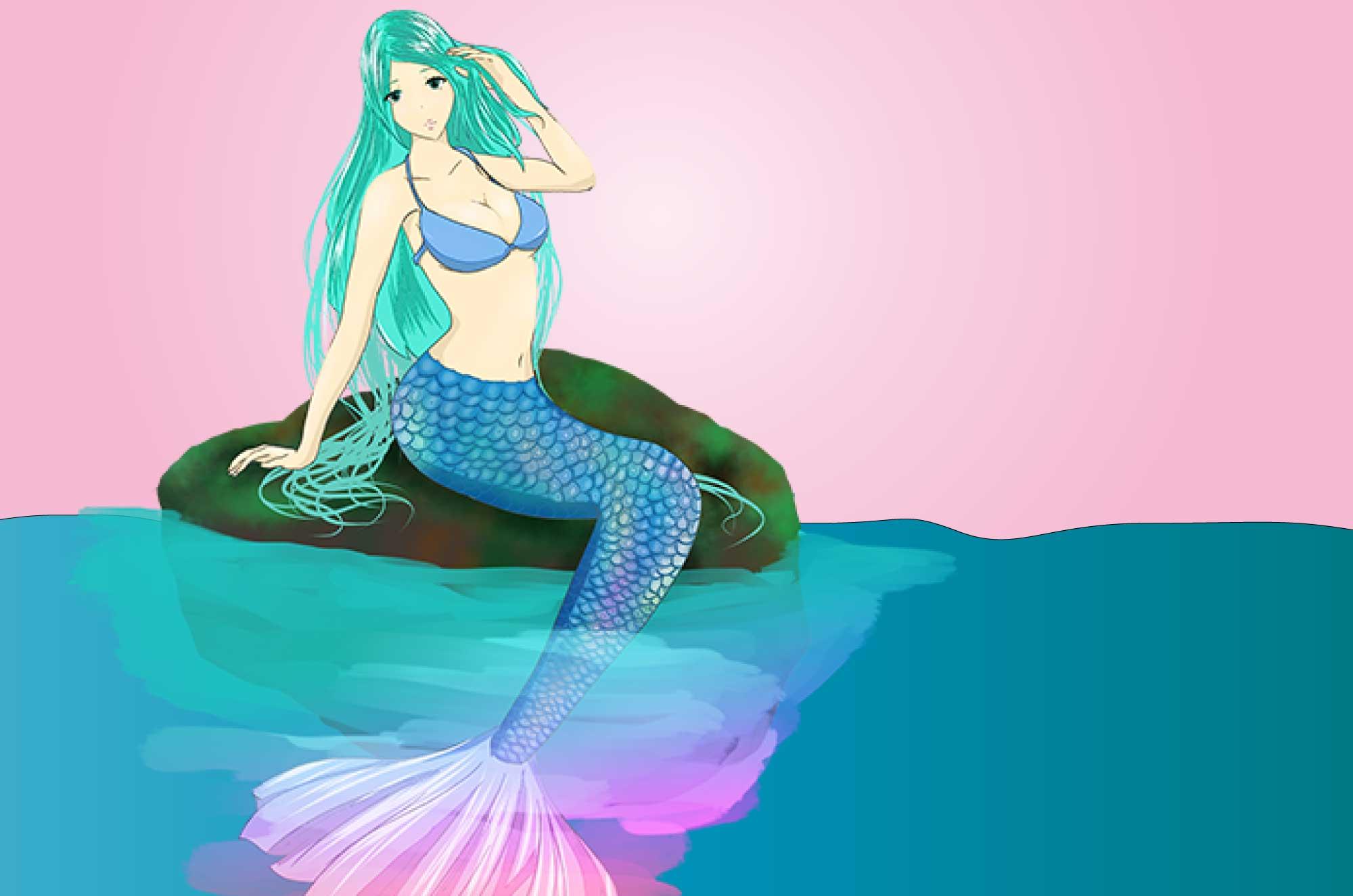 人魚の無料イラスト - 可愛い海のクリーチャー素材
