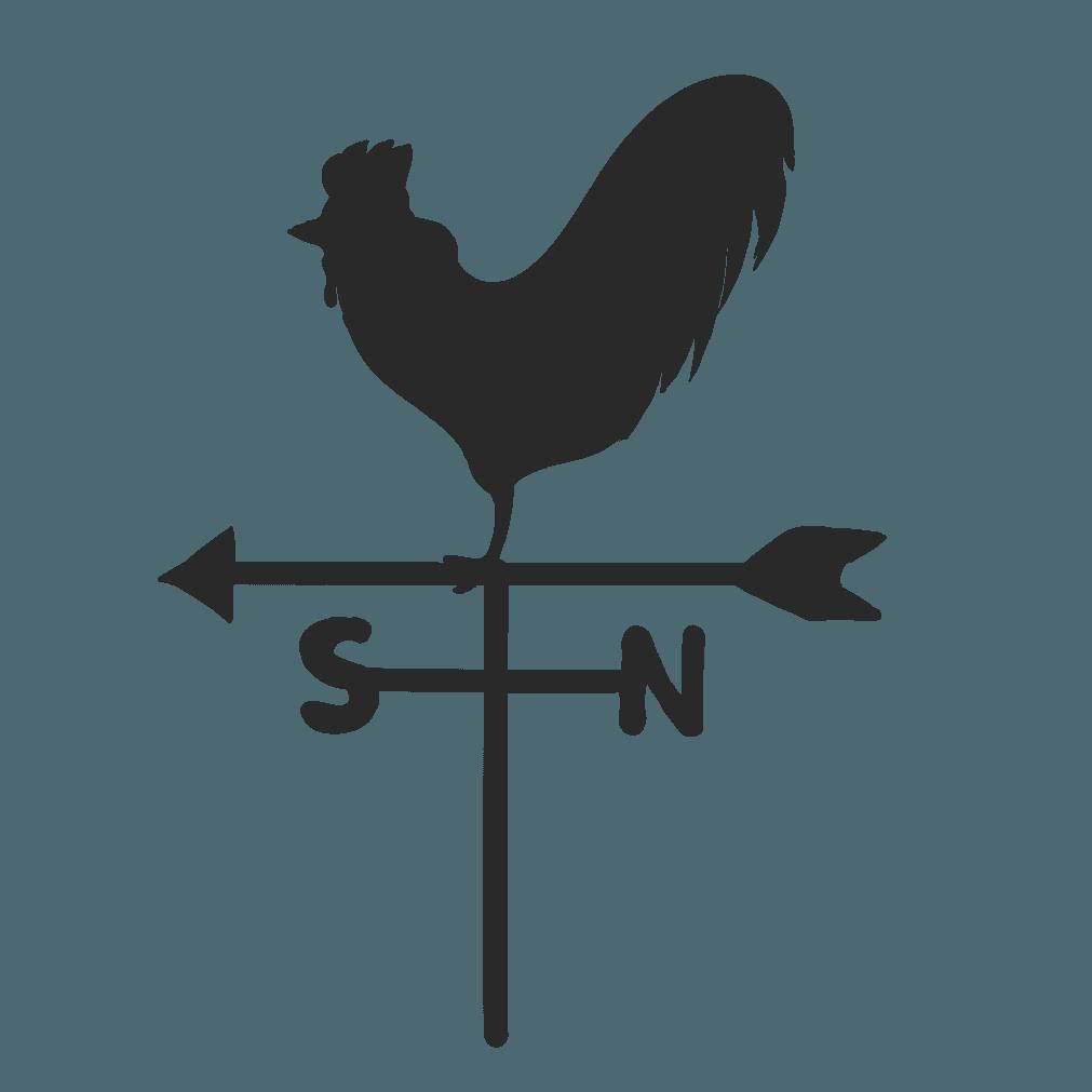 風見鶏のシルエットイラスト