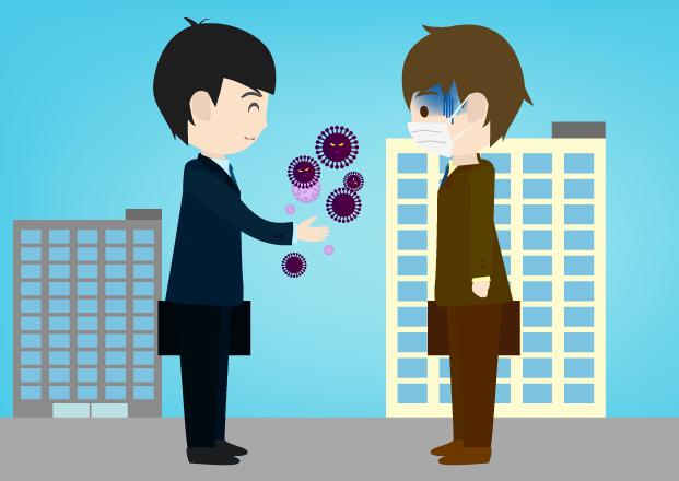 ノーマスクビジネスマン対応に焦る人のイラスト(背景あり)