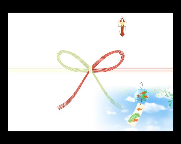 夏空と風鈴ののしのイラスト