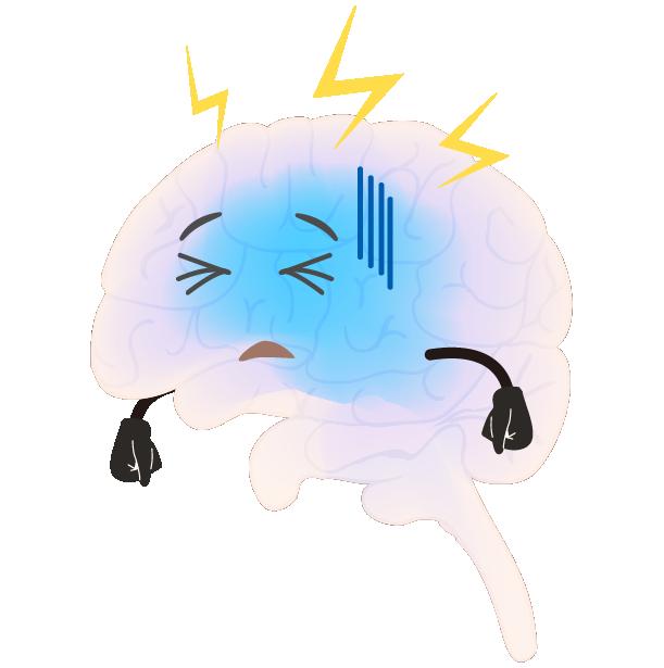 元気のない脳のイラスト