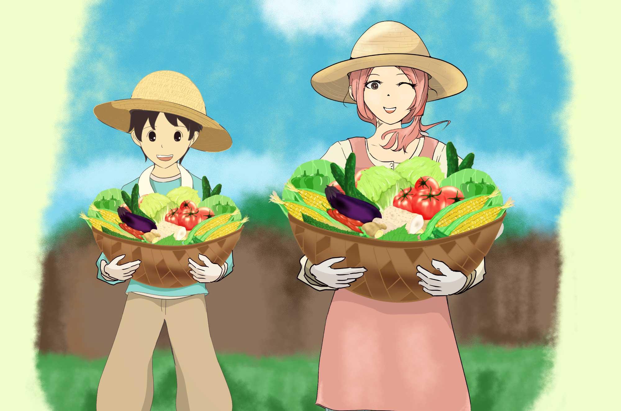 農業のイラスト - 野菜を育てる職業農家の無料素材