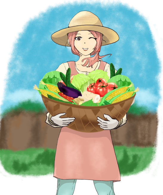 野菜を持った可愛い農家の女性のイラスト