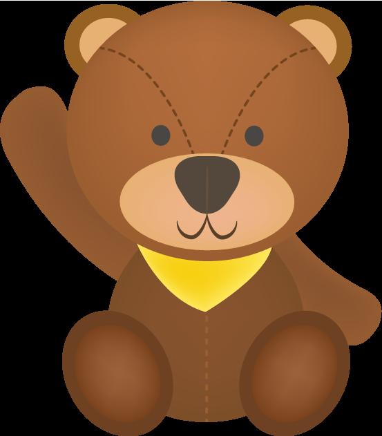 手をあげるクマのぬいぐるみのイラスト