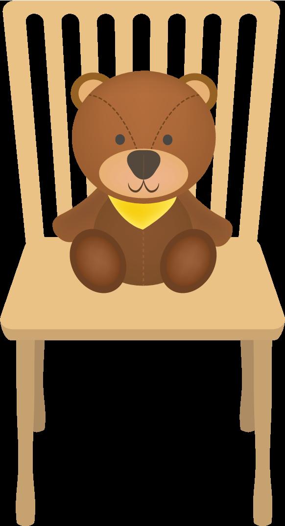 椅子とクマのイラスト