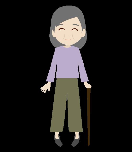 杖をつくおばあちゃんのイラスト