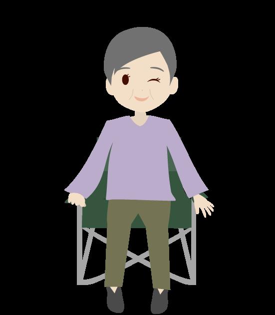 座るおばあちゃんのイラスト3