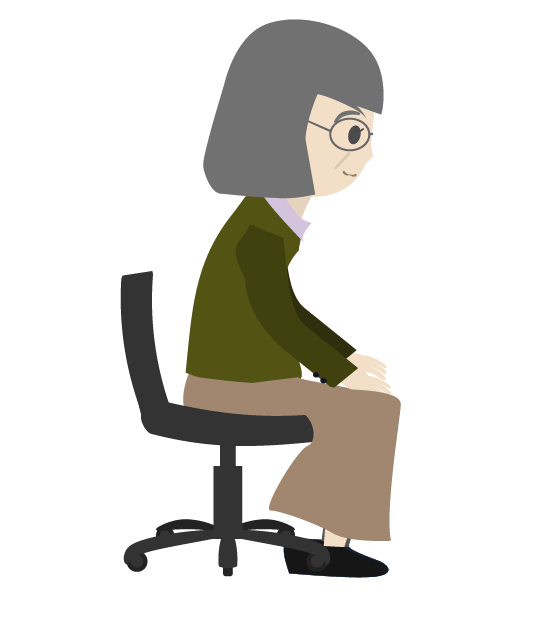 座るおばあちゃん(横)のイラスト