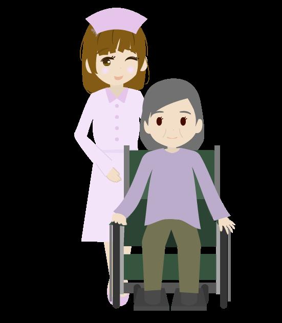 看護師とおばあちゃんのイラスト