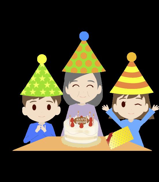 おばあちゃんの誕生日のイラスト