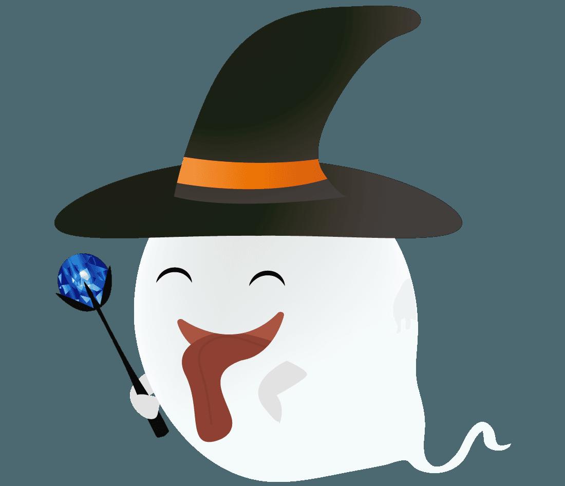 笑顔のハロウィンのおばけイラスト