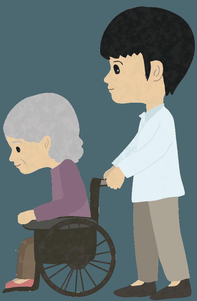 介護士とおばあさんイラスト