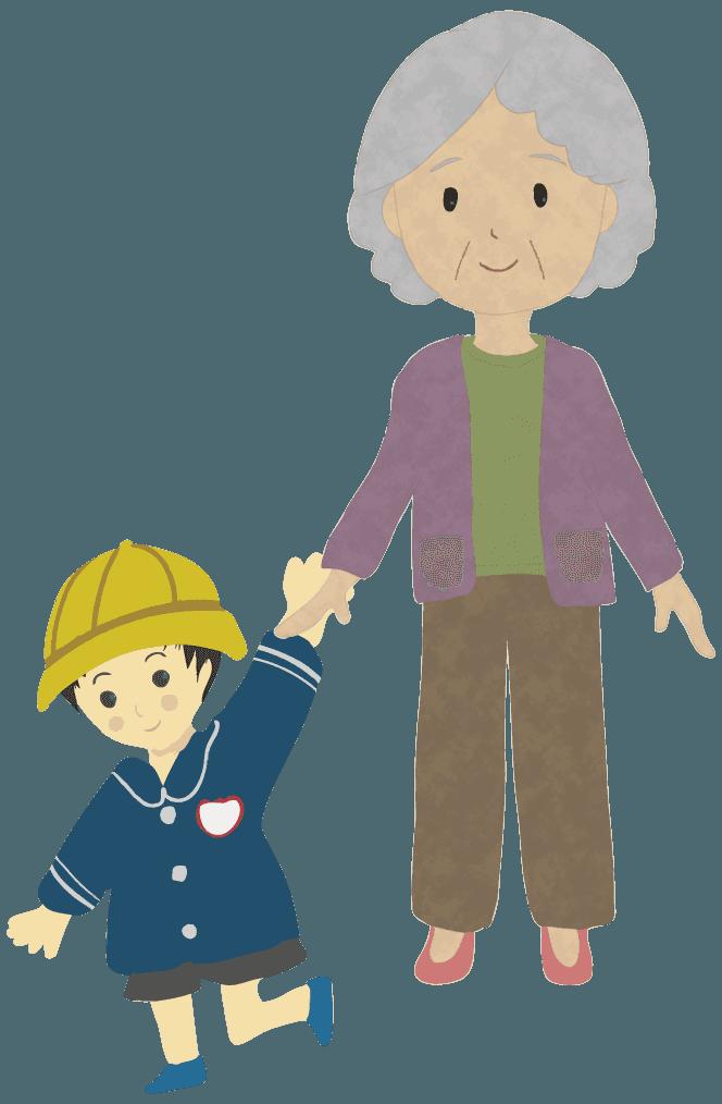 孫とおばあさんイラスト