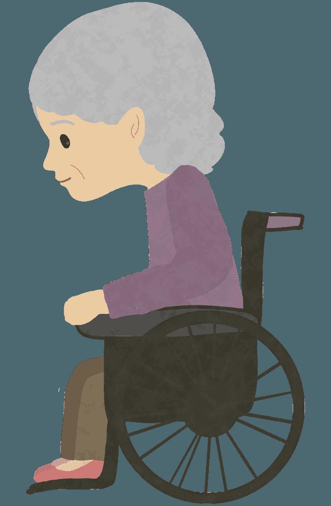 車椅子に乗っているおばあさんイラスト