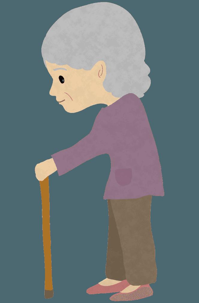 杖をつくおばあさんイラスト