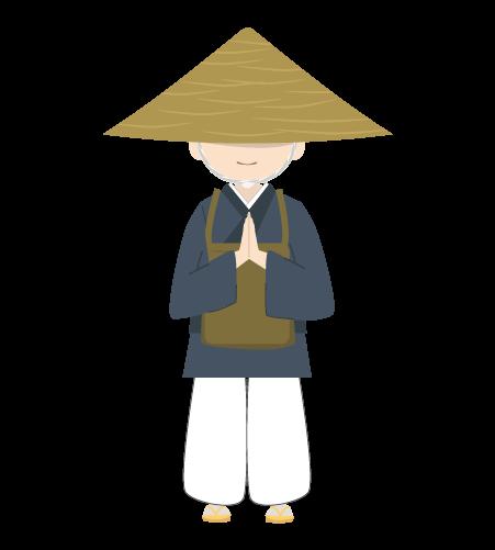 合掌する修行僧のイラスト