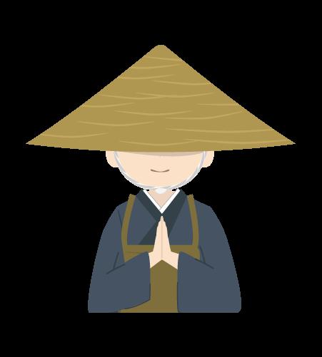 祈る修行僧のイラスト