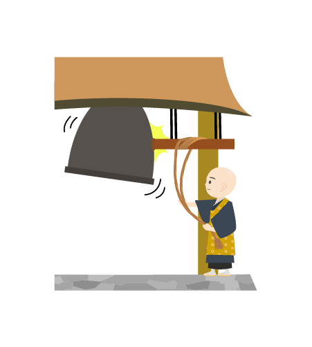 鐘をつくお坊さんのイラスト