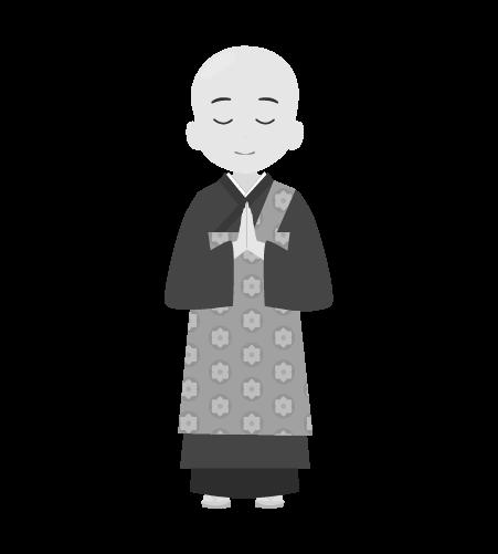 お坊さんのイラスト1(白黒素材)