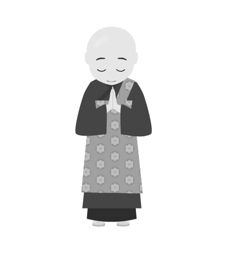 お坊さんのイラスト2(白黒素材)