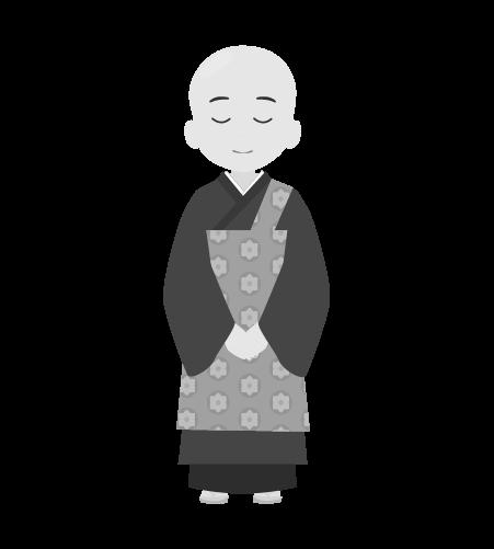 お坊さんのイラスト3(白黒素材)