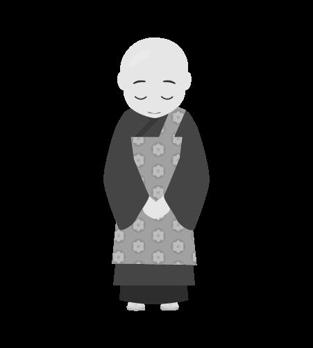 お坊さんのイラスト4(白黒素材)