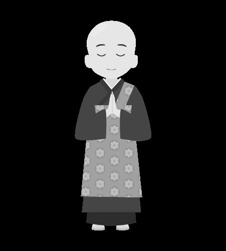 お坊さんのイラスト5(白黒素材)