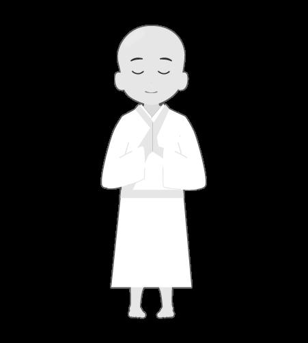 お坊さんのイラスト6(白黒素材)
