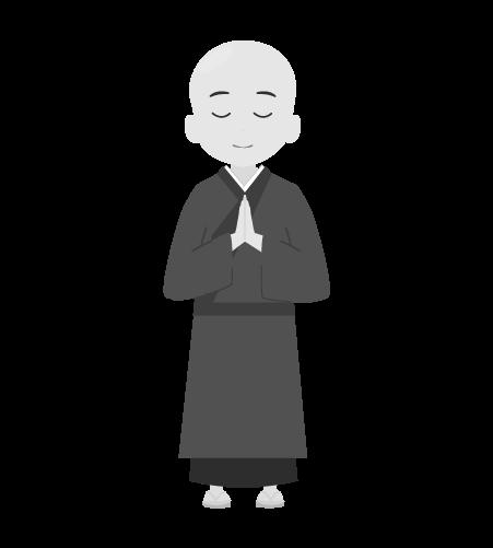 お坊さんのイラスト7(白黒素材)