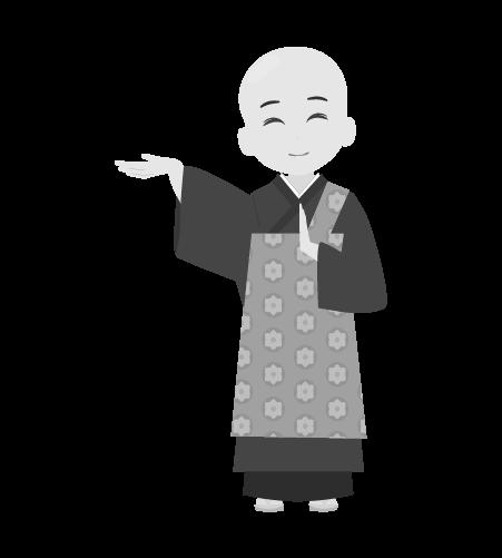 お坊さんのイラスト8(白黒素材)