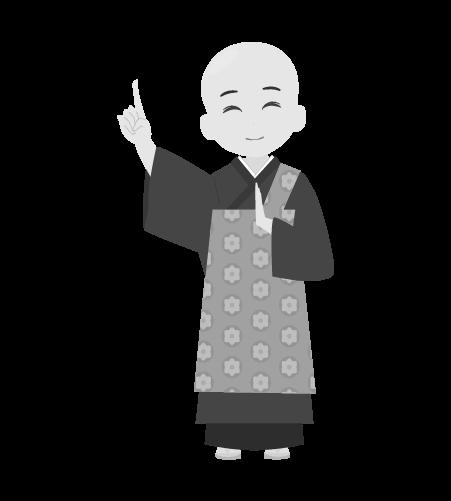 お坊さんのイラスト9(白黒素材)