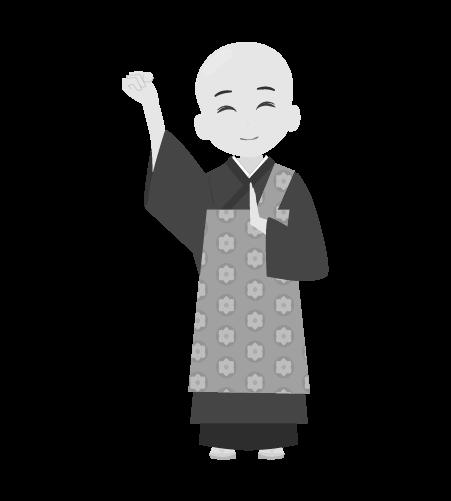 お坊さんのイラスト10(白黒素材)
