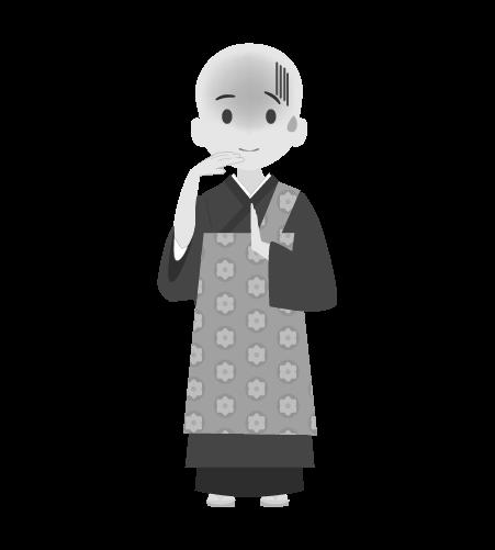 お坊さんのイラスト11(白黒素材)